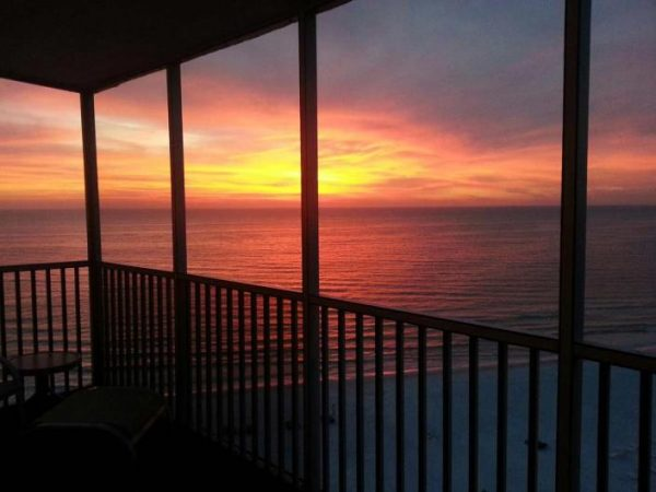 Gorgeous sunset from the balcony of a vacation condo rental in Siesta Key