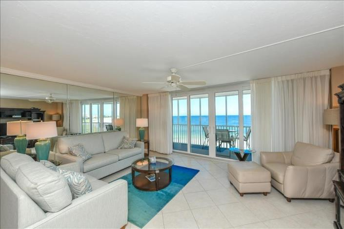 Living room of 2-bedroom vacation condo in Siesta Key