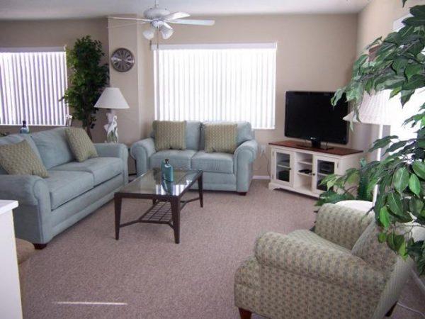 living room of villa 1 at crystal sands in siesta key