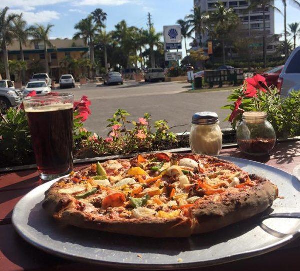 Pizza and beer at Pi 3.14 in Siesta Key, FL