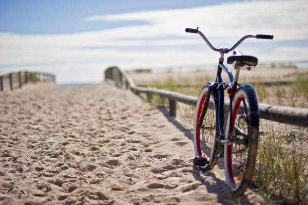 bike on the sand by the beach