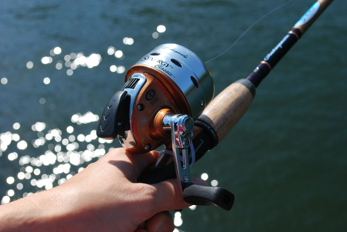 fishing pole in hand